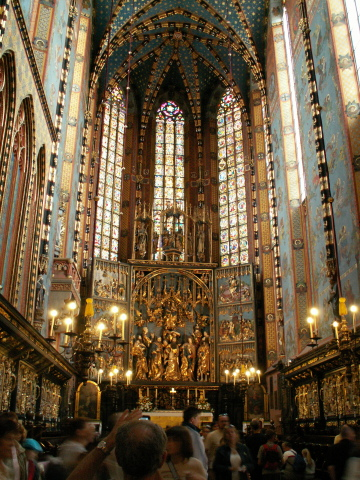 The interior of the Mariacki Cathedral