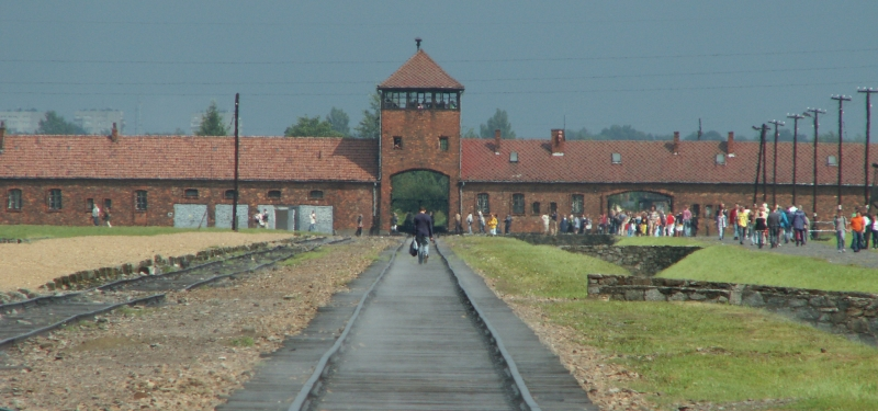 Looking down the tracks towards the entrance of Auschwitz II (Birkenau)