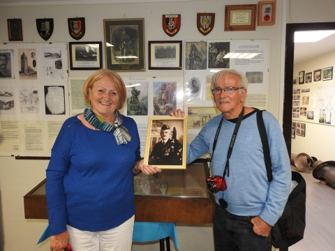 At the Loos Museum with a photo of Daniel Laidlaw VC