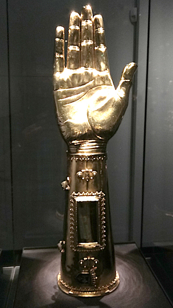 Arm reliquary containing a bone of Charlemagne