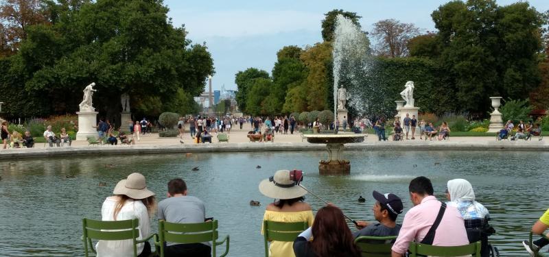 Watching the ducks in the Tuileries garden