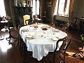 The dining room is set out for both British and French guests