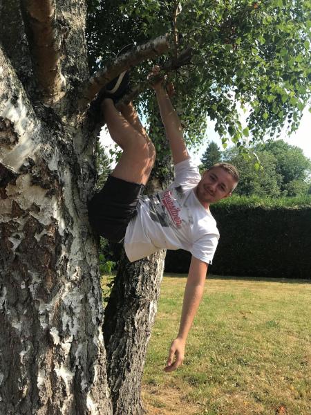 Jean just had to climb the tree